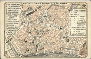 Antwerp Antverpeno Belgium - Map - Spanish Issued c1910 Postcard