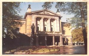 Norway Old Vintage Antique Post Card National Theatre Oslo 1951 Missing Stamp