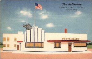 Jackson MS The Rotisserie Restaurant LINEN Postcard