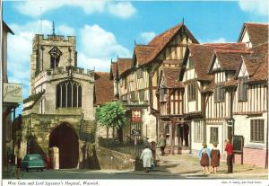 UK, West Gate and Lord Leycester's Hospital, Warwick, 1960s unused Postcard