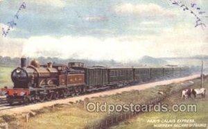 Raphael Tuck & Sons, Paris-Calais Express Train Locomotive  Steam Engine Writ...