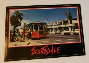 Vintage Postcard Scottsdale Arizona trolley shopping district old auto cars 1987