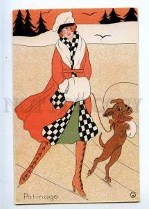 233208 ART NOUVEAU Patinage SKATING Lady DACHSHUND Vintage PC