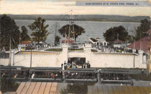 Peoria IL Boardwalk, Castle Entrance Before Spin Ride~Fresco Amusement Park 1907