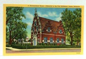 Lewes Delaware Zwaanendael House Memorial Of First Settlement Linen Postcard