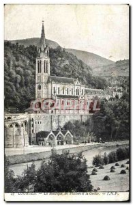 Old Postcard Lourdes Basilica Pools And The Cave