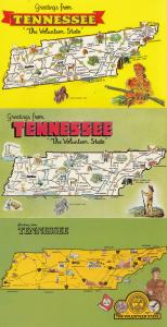 Tennessee Greetings From 3x Map Postcard s