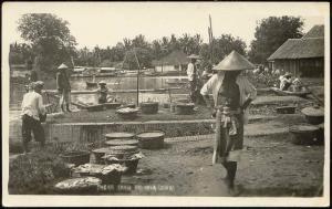 indonesia, JAVA BATAVIA, Pasar Ikan, Native People (1940) RPPC Stamps