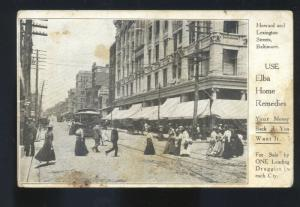 BALTIMORE MARYLAND DOWNTOWN STREET SCENE 1906 VINTAGE ADVERTISING POSTCARD