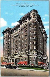 Atlanta, Georgia Postcard GEORGIAN TERRACE HOTEL Peachtree Street View Linen