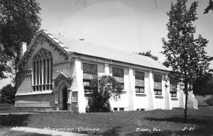 Zion Illinois birds eye view Memorial Methodist Church real photo pc Y10557