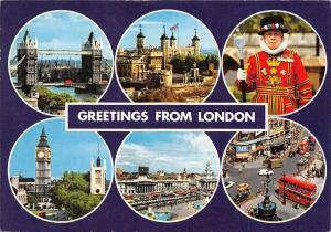 Greetings from London multiviews Houses of Parliament Tower Bridge Guard Cars