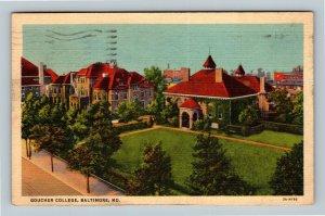 Baltimore MD, Goucher College, Linen Maryland c1939 Postcard