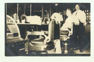 Woodward OKLAHOMA RP 1910 INTERIOR BARBERSHOP Barber Shop nr Fort Supply