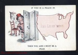 RED LODGE MONTANA RISQUE GIRL UNITED STATES MAP VINTAGE POSTCARD HUGHESVILLE