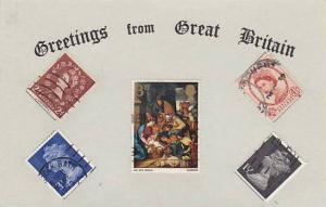 Greetings from Great Britian , Real Stamps on Postcard , 1950-70s : #6