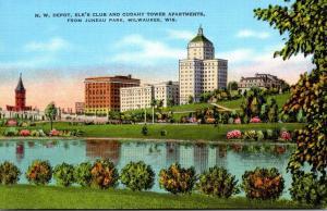 Wisconsin Milwaukee N W Depot Elks Club & Cudahy Tower Apartments From Juneau...