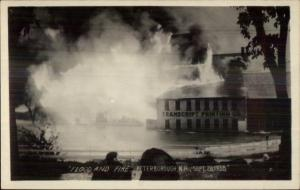 Peterboro Peterborough NH 1938 Flood & Fire Real Photo Postcard