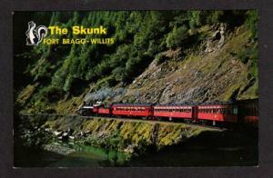 CA Skunk Train Railroad FORT BRAGG WILLITS California Postcard
