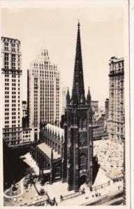 New York City Trinity Church At Broadway and Wall Street Real Photo