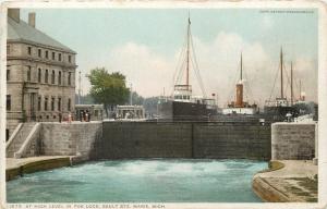 Sault Ste. Marie MI~Detroit Publishing #11879 At High Level in Poe Lock~1907