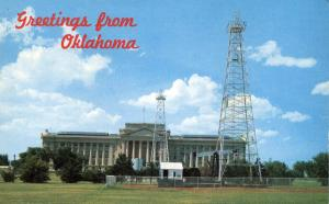 Greetings from Oklahoma City - Capitol surrounded by Oil Wells