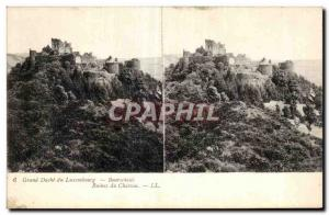Stereoscopic Card - Grand Duchy of Luxembourg - Bourseheid - Ruins of Castle ...