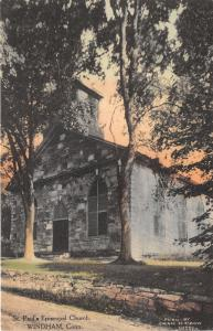 Windham Connecticut~St Paul's Episcopal Church~c1910 Handcolored Albertype Pc