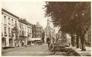 Vintage Postcard The Cross & West Street Showing Car Park Chichester West Sussex