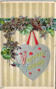 ANTIQUE EMBOSSED Post Card Valentine Thoughts Gold Heart Purple Flowers  VINTAGE