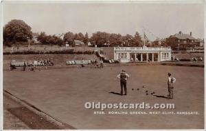 Old Vintage Lawn Bowling Postcard Post Card Bowling Greens West Cliff, Ramsga...