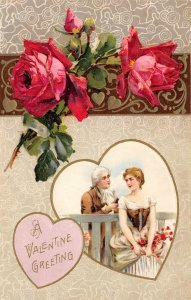 LP08 Valentine's Day Postcard Winsch Publisher Red Roses Couple