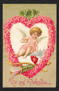 Cherub w/Bow & Arrows and Flower Heart unused c1910's