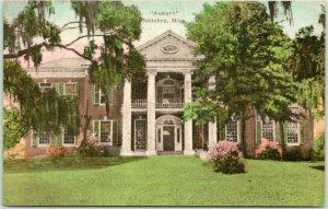 Natchez, Mississippi Hand-Colored Postcard AUBURN Antebellum Mansion Albertype