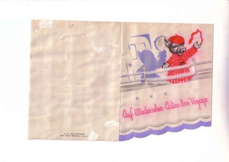 Bon Voyage Greeting Card, Rust Craft 1934, Wool Applique