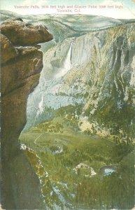 Yosemite Falls and Glacier Point California Divided Back Postcard