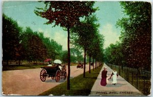 Chicago, Illinois Postcard DREXEL BOULEVARD Horse Carriage Scene 1911 Cancel