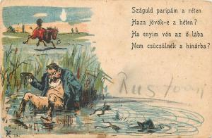 Chromo litho 1900s comic horse riding humour accident frogs pond caricature