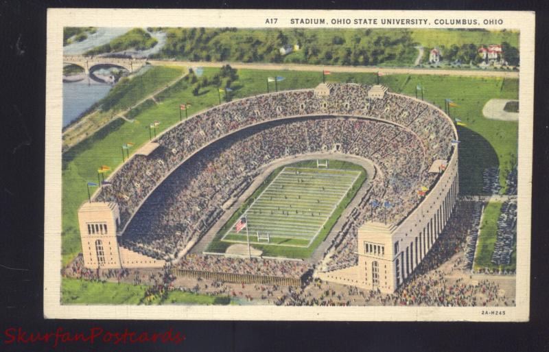 COLUMBUS OHIO STATE UNIVERSITY BUCKEYES FOOTBALL STADIUM VINTAGE 1939 POSTCARD