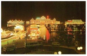 Aberdeen Night Scene With Floating Restaurants Hong Kong Postcard PC1037