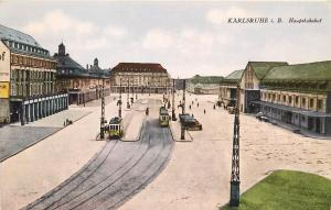 Karlsruhe i. B. (Bavaria Germany Hauptbahnhof (Depot). Postcard. Trolley Tram