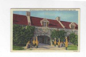 Vtg 40's South Barracks, Fort Ticonderoga, New York Postcard