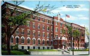 Mankato, Minnesota Postcard ST JOSEPH HOSPITAL Building View Kropp Linen 1940s