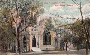 Hutchinson Kansas~First Presbyterian Church~Boy With Wheelbarrow on Corner~1910