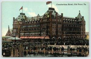 Old Point Comfort VA~Chamberlin Hotel~Dozens of People Under Umbrellas~1910 PC