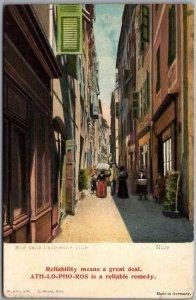 ATH-LO-PHO-ROS Rheumatism Remedy Advertising Postcard /NICE France Street Scene
