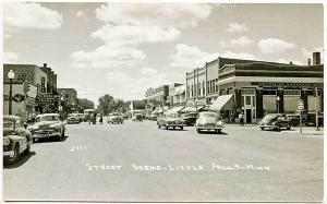 West Little Falls MN Street View Store Fronts Old Cars RPPC Real Photo Postcard