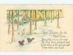 Divided-Back NEW YEAR SCENE Great Postcard W7445