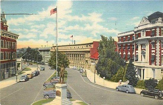 WA, Spokane, Washington, Civic Center,  Riverside Avenue, Curteich
