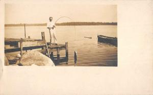Lake Hopatcong New Jersey Fishing Waterfront Real Photo Antique Postcard K80181